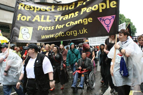 Picture Displaying the Press For Change Banner from Pride London 2007